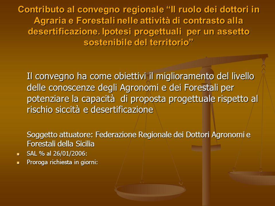 Contributo al convegno regionale Il ruolo dei dottori in Agraria e Forestali nelle attività di contrasto alla desertificazione. Ipotesi progettuali per un assetto sostenibile del territorio
