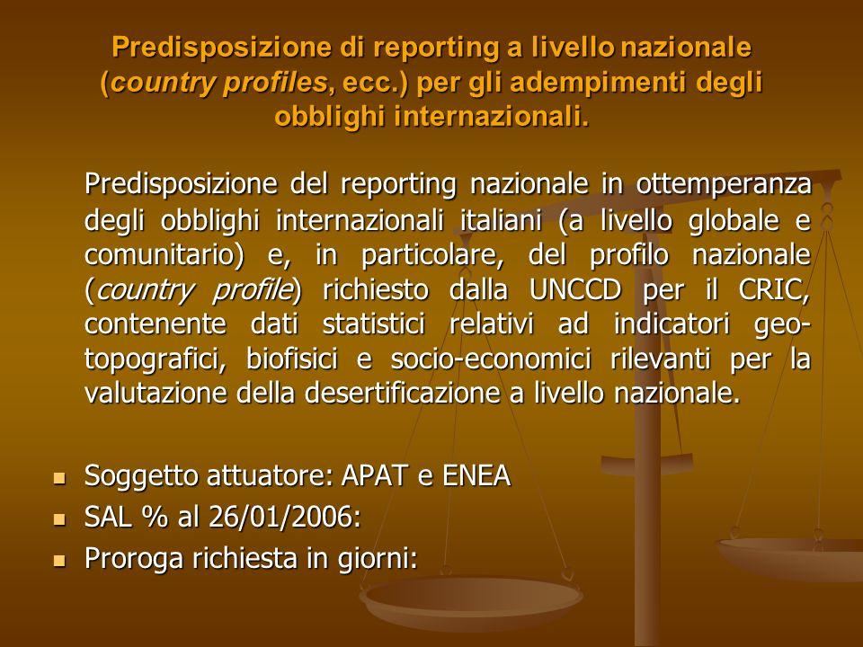 Predisposizione di reporting a livello nazionale (country profiles, ecc.) per gli adempimenti degli obblighi internazionali.