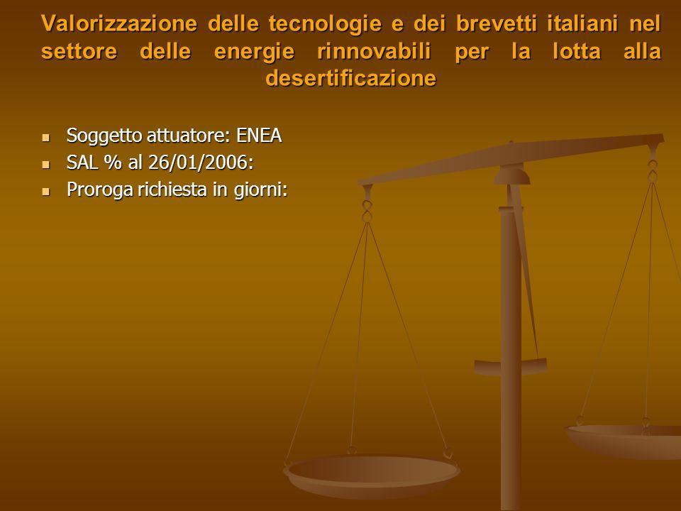 Valorizzazione delle tecnologie e dei brevetti italiani nel settore delle energie rinnovabili per la lotta alla desertificazione
