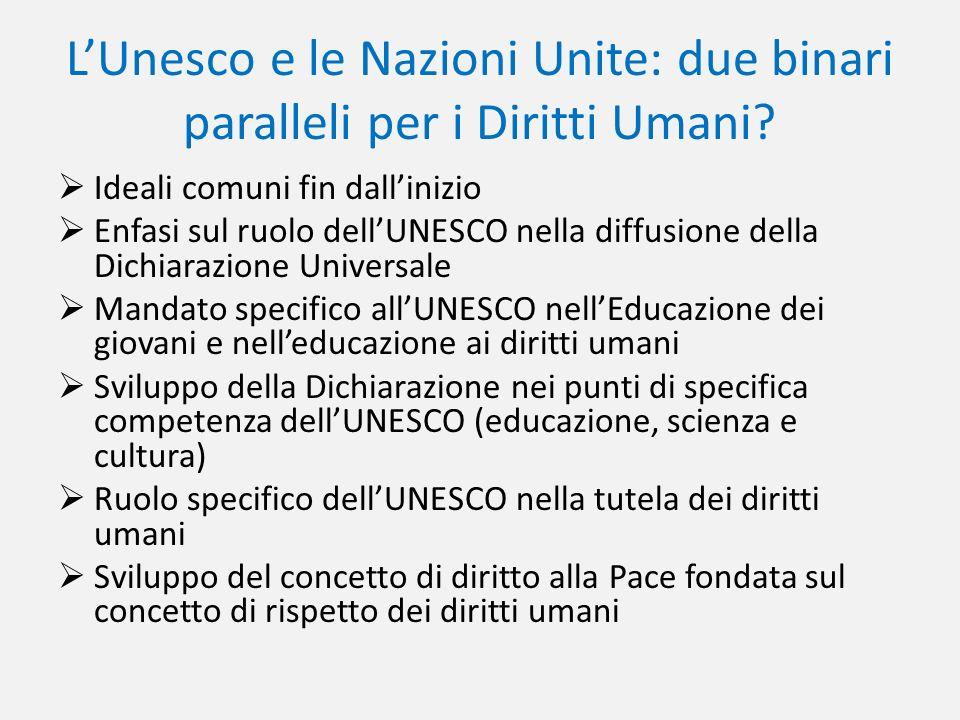 L'Unesco e le Nazioni Unite: due binari paralleli per i Diritti Umani