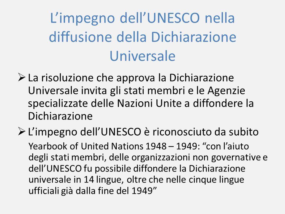 L'impegno dell'UNESCO nella diffusione della Dichiarazione Universale