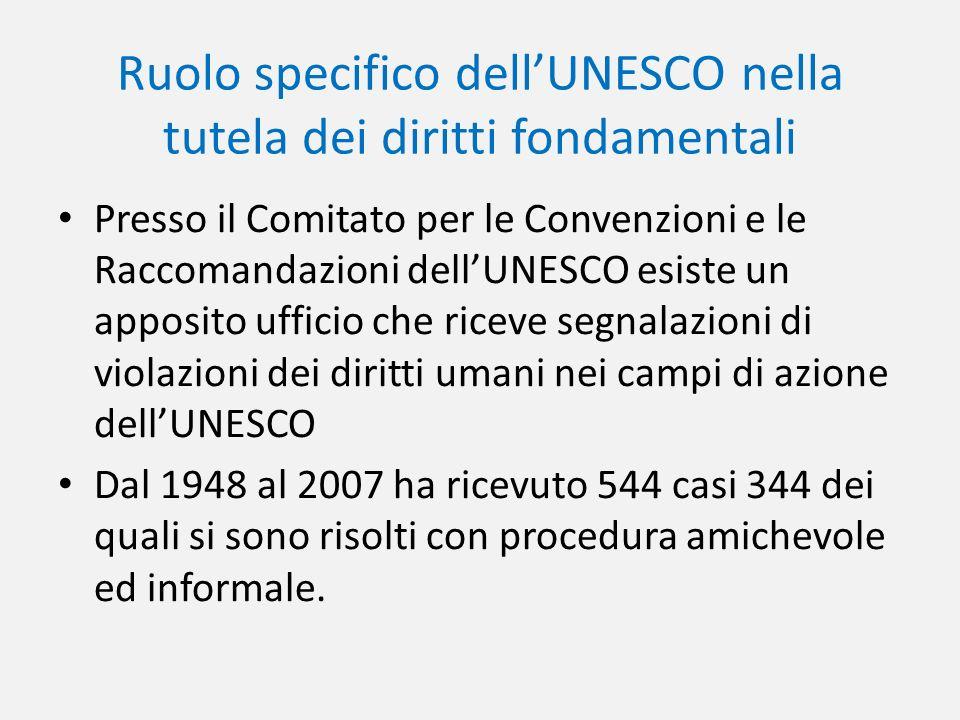 Ruolo specifico dell'UNESCO nella tutela dei diritti fondamentali