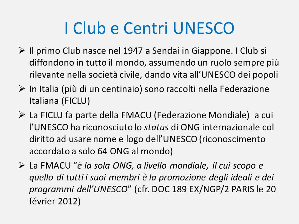 I Club e Centri UNESCO