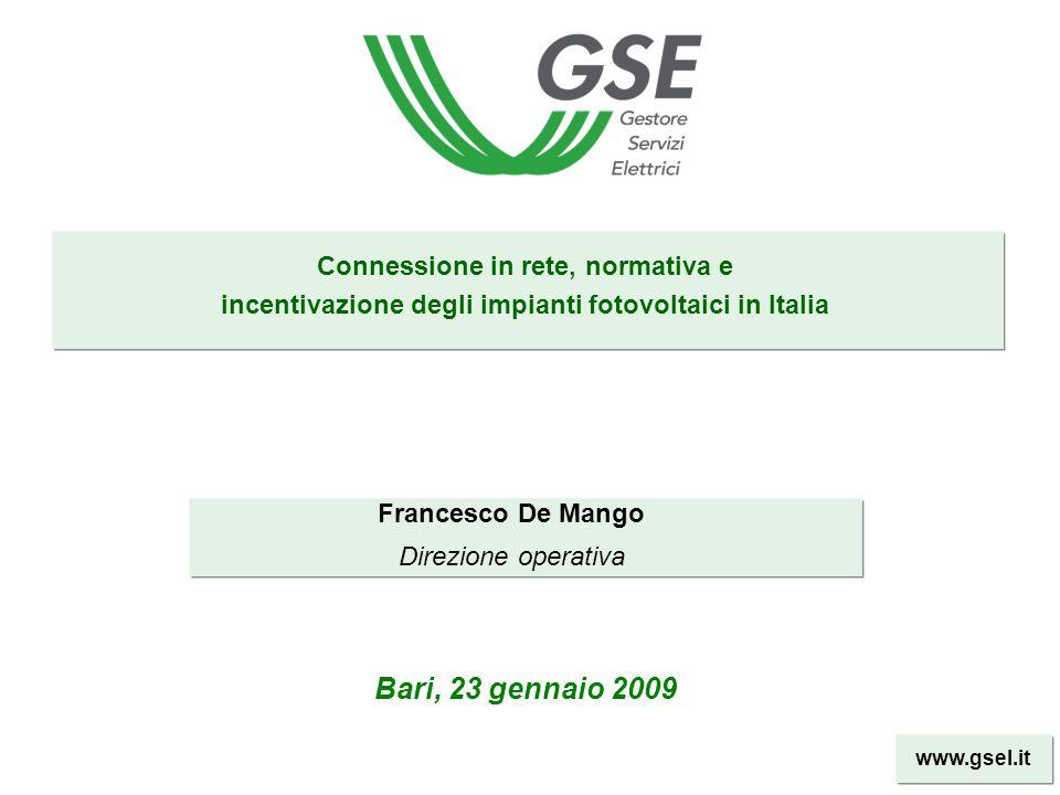 Bari, 23 gennaio 2009 Connessione in rete, normativa e