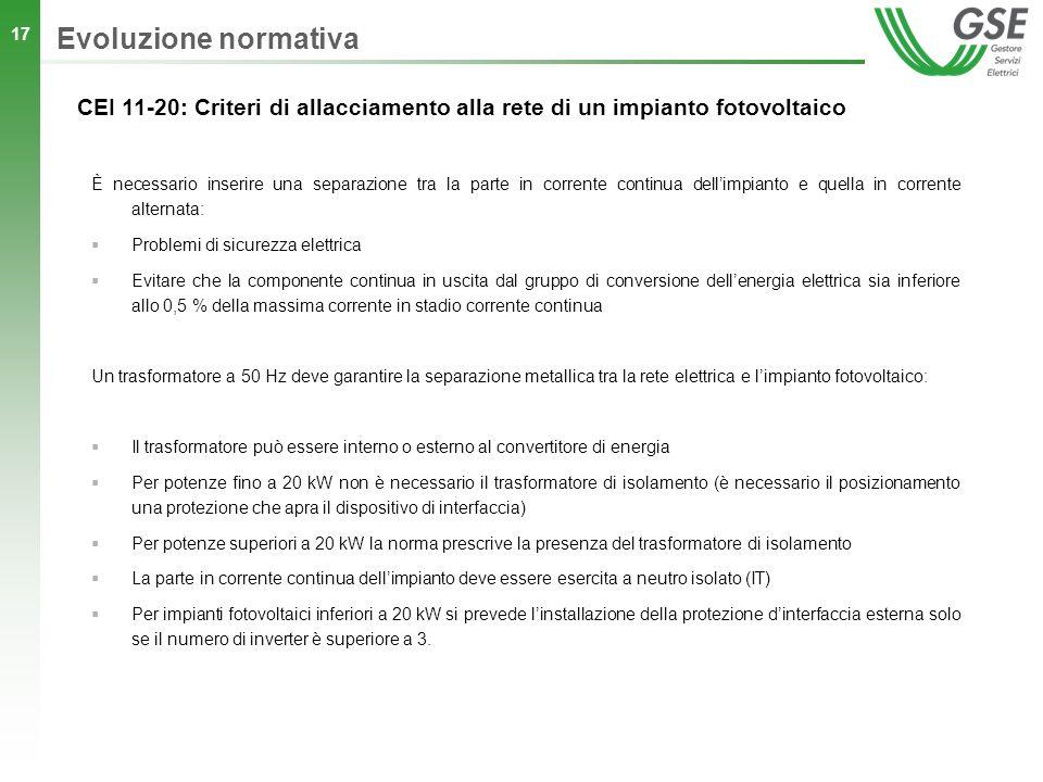 Evoluzione normativa CEI 11-20: Criteri di allacciamento alla rete di un impianto fotovoltaico.