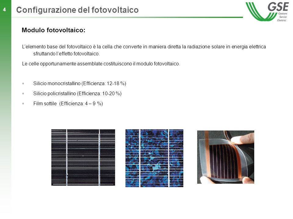 Configurazione del fotovoltaico
