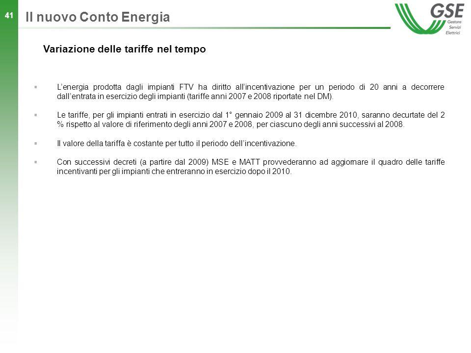 Il nuovo Conto Energia Variazione delle tariffe nel tempo