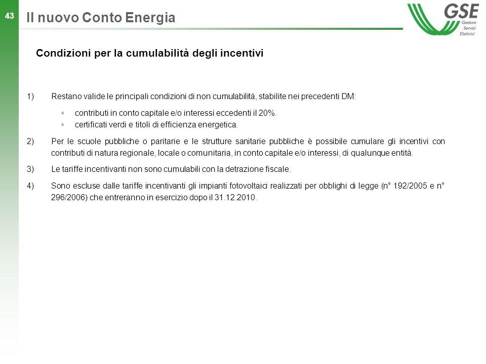 Il nuovo Conto Energia Condizioni per la cumulabilità degli incentivi