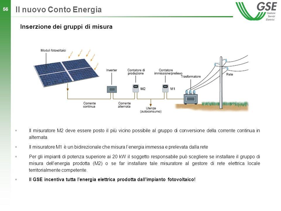 Il nuovo Conto Energia Inserzione dei gruppi di misura