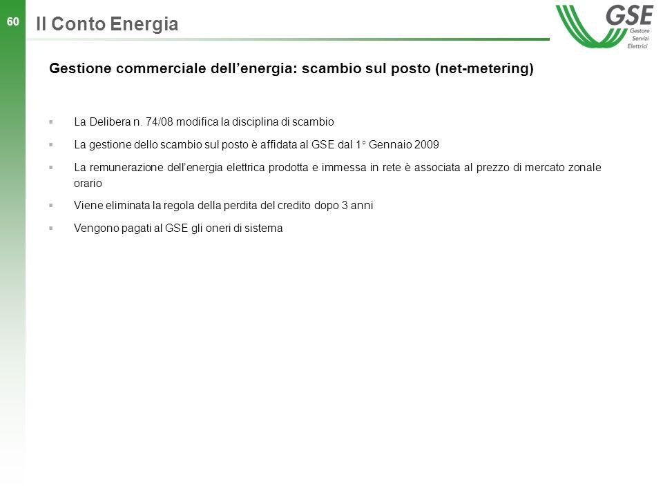 Il Conto Energia Gestione commerciale dell'energia: scambio sul posto (net-metering) La Delibera n. 74/08 modifica la disciplina di scambio.