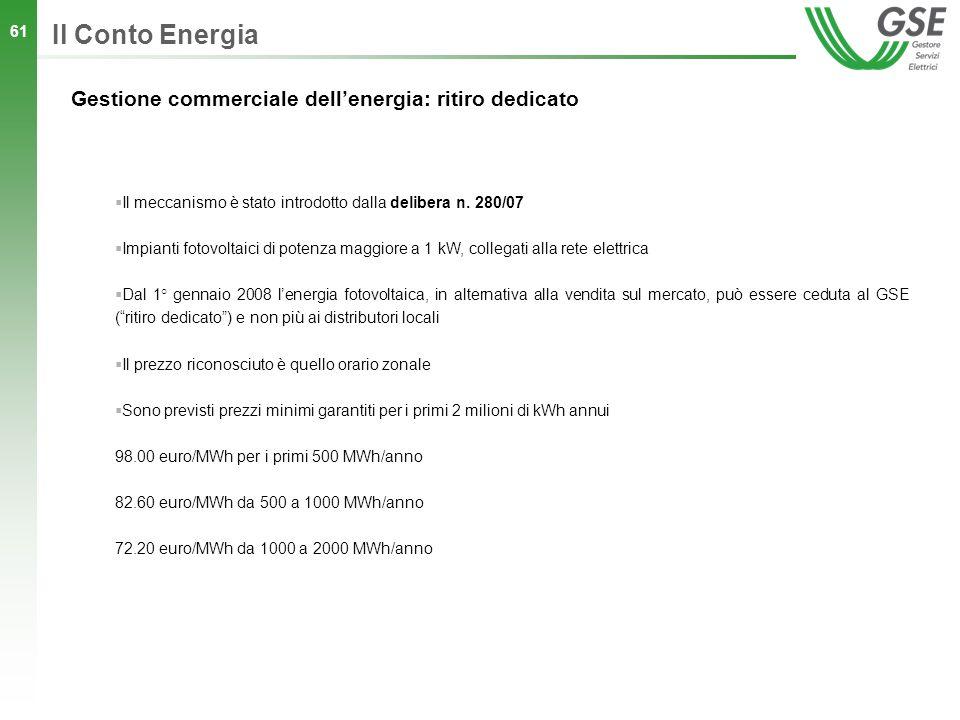 Il Conto Energia Gestione commerciale dell'energia: ritiro dedicato