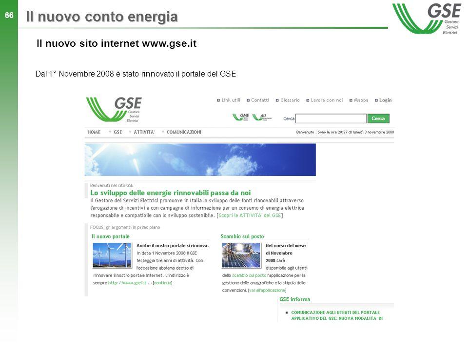 Il nuovo conto energia Il nuovo sito internet www.gse.it