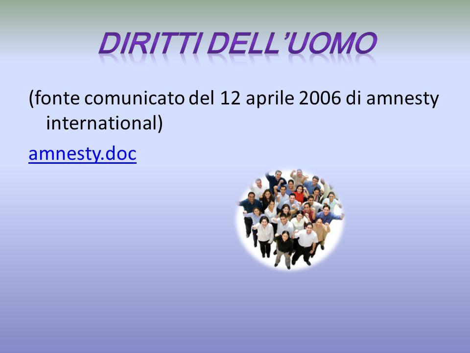 Diritti dell'uomo (fonte comunicato del 12 aprile 2006 di amnesty international) amnesty.doc