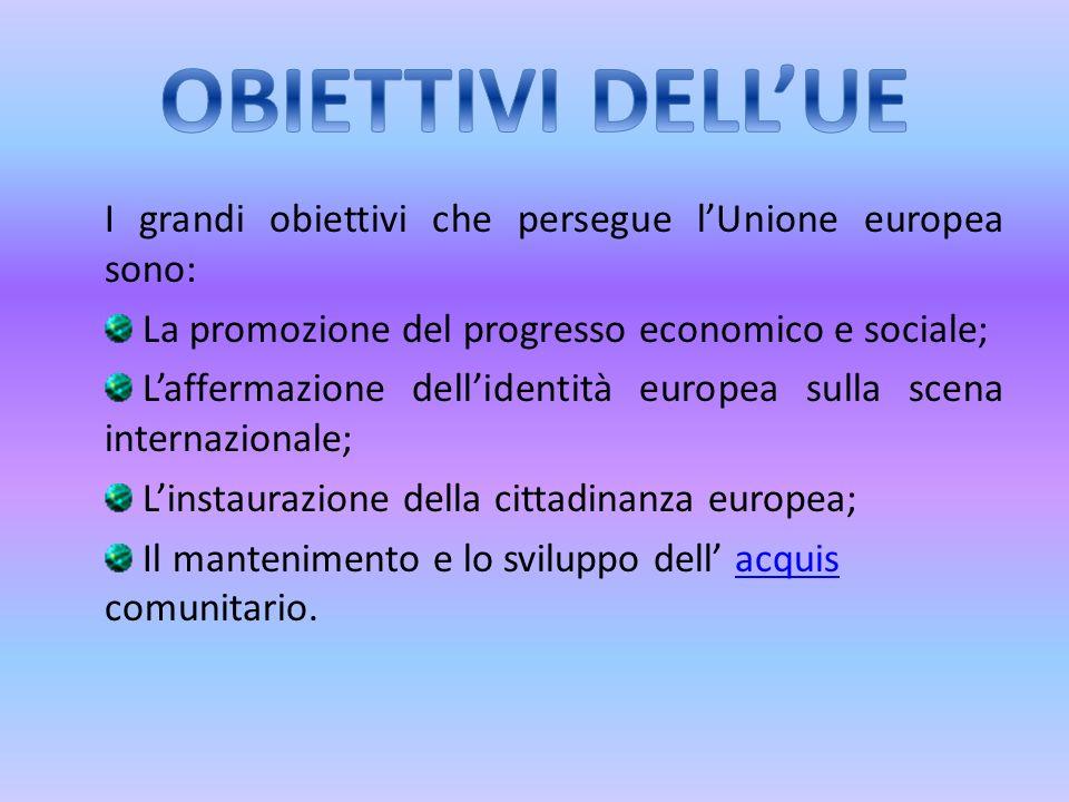 OBIETTIVI DELL'UE I grandi obiettivi che persegue l'Unione europea sono: La promozione del progresso economico e sociale;