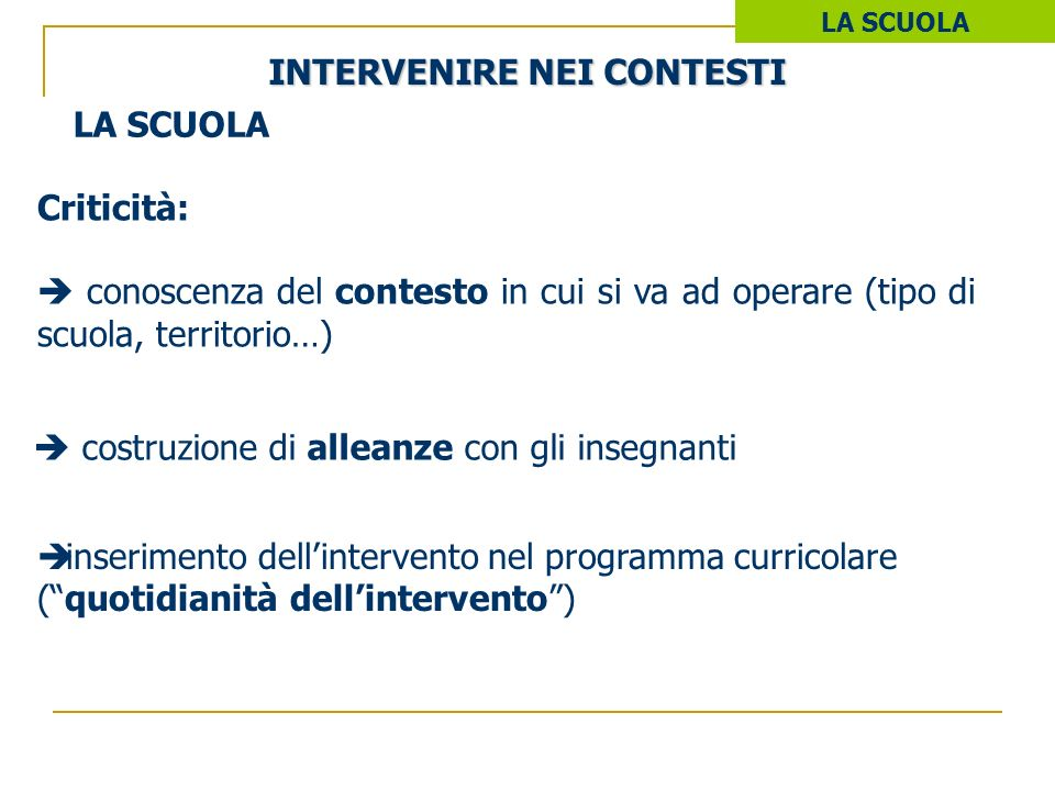 INTERVENIRE NEI CONTESTI