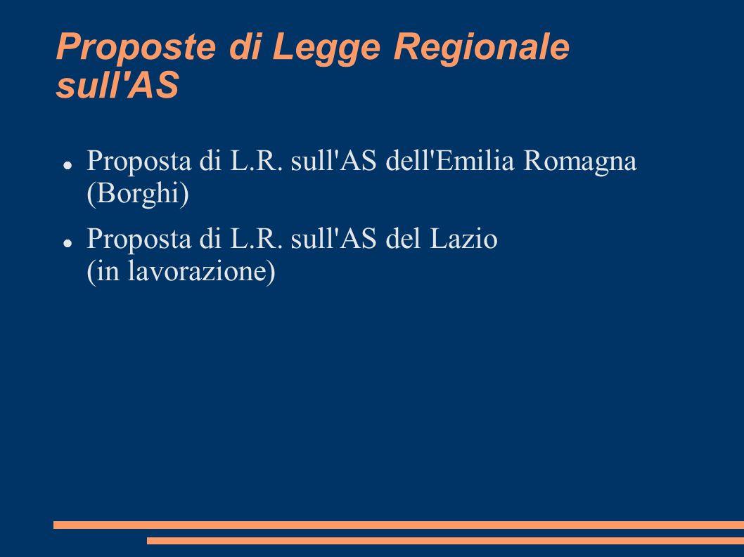 Proposte di Legge Regionale sull AS