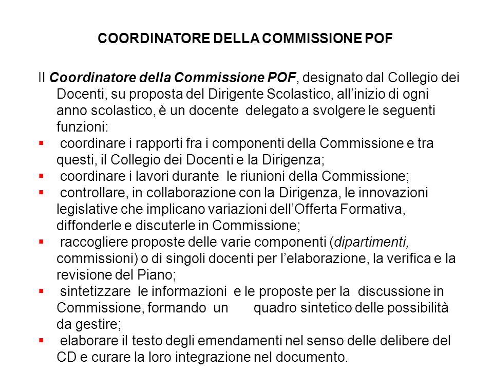 COORDINATORE DELLA COMMISSIONE POF