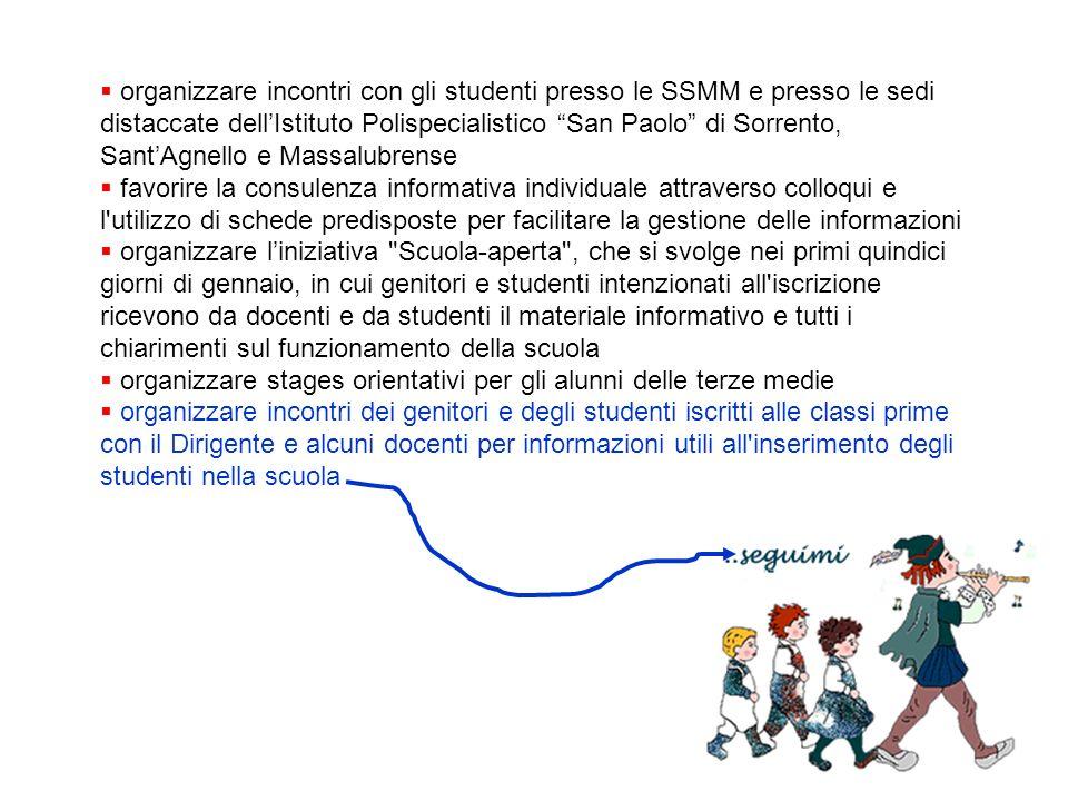 organizzare incontri con gli studenti presso le SSMM e presso le sedi distaccate dell'Istituto Polispecialistico San Paolo di Sorrento, Sant'Agnello e Massalubrense