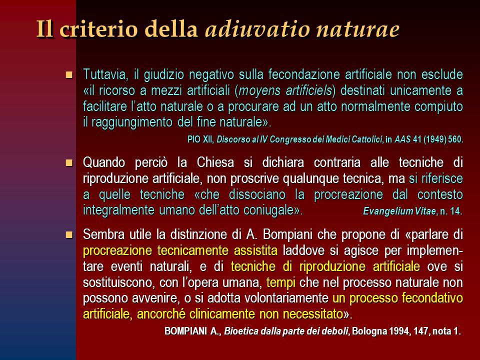 Il criterio della adiuvatio naturae