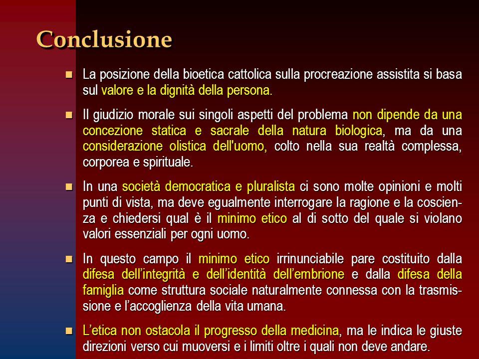 Conclusione La posizione della bioetica cattolica sulla procreazione assistita si basa sul valore e la dignità della persona.