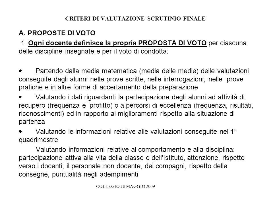 CRITERI DI VALUTAZIONE SCRUTINIO FINALE