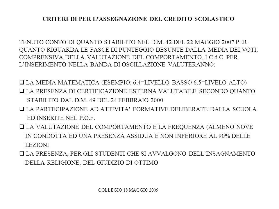 CRITERI DI PER L'ASSEGNAZIONE DEL CREDITO SCOLASTICO