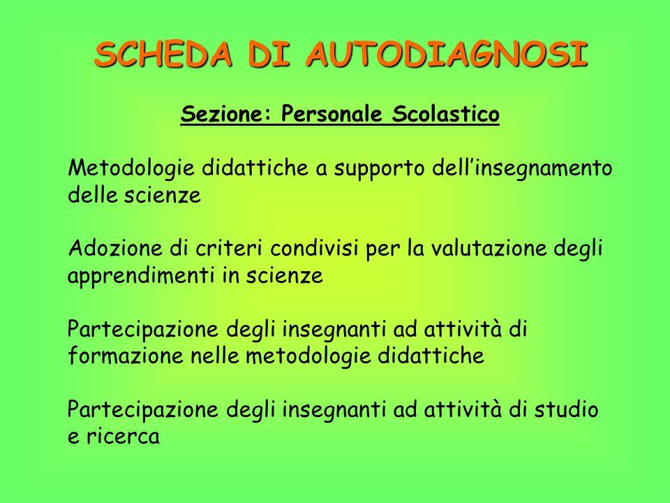 SCHEDA DI AUTODIAGNOSI Sezione: Personale Scolastico