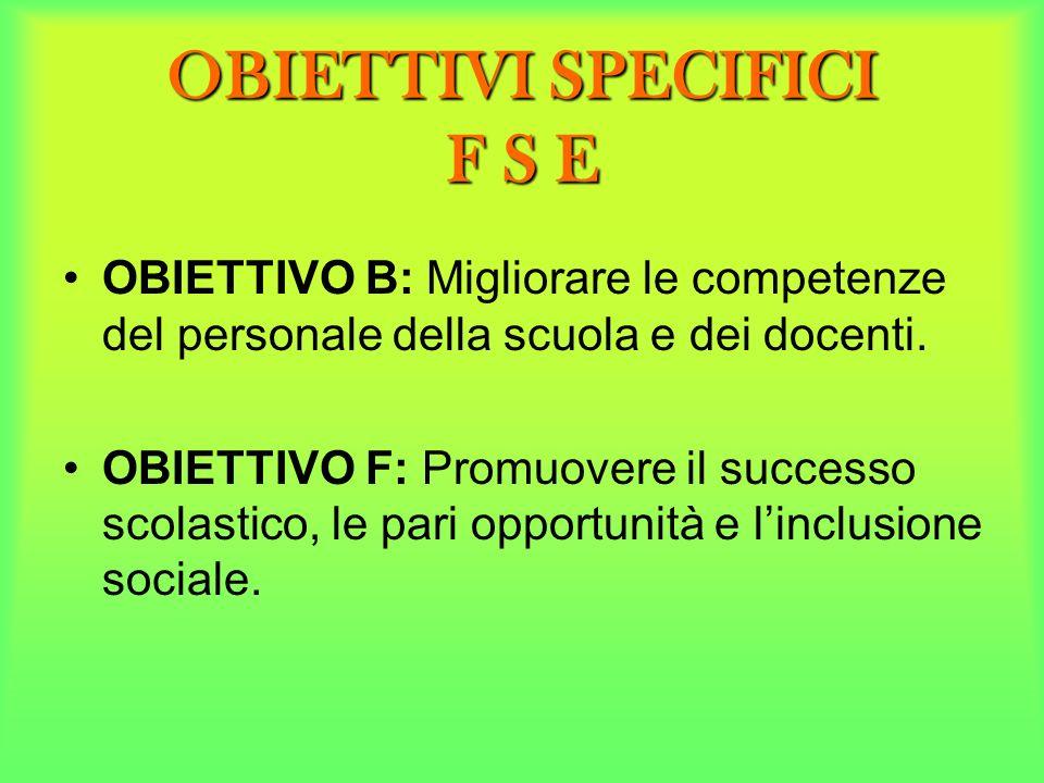 OBIETTIVI SPECIFICI F S E
