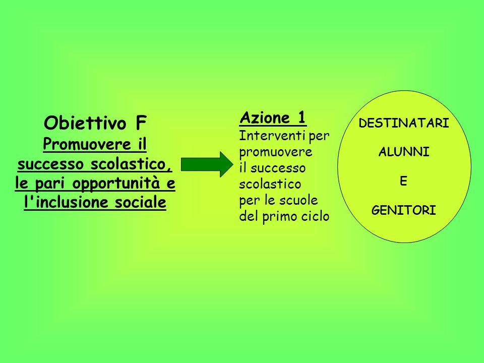 Obiettivo F Promuovere il successo scolastico,