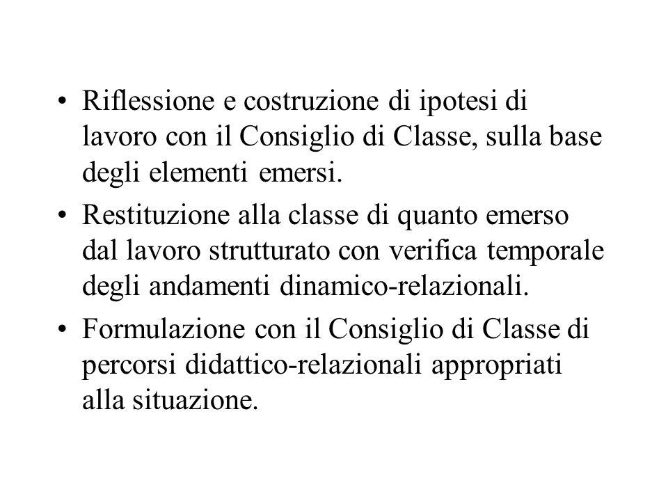 Riflessione e costruzione di ipotesi di lavoro con il Consiglio di Classe, sulla base degli elementi emersi.