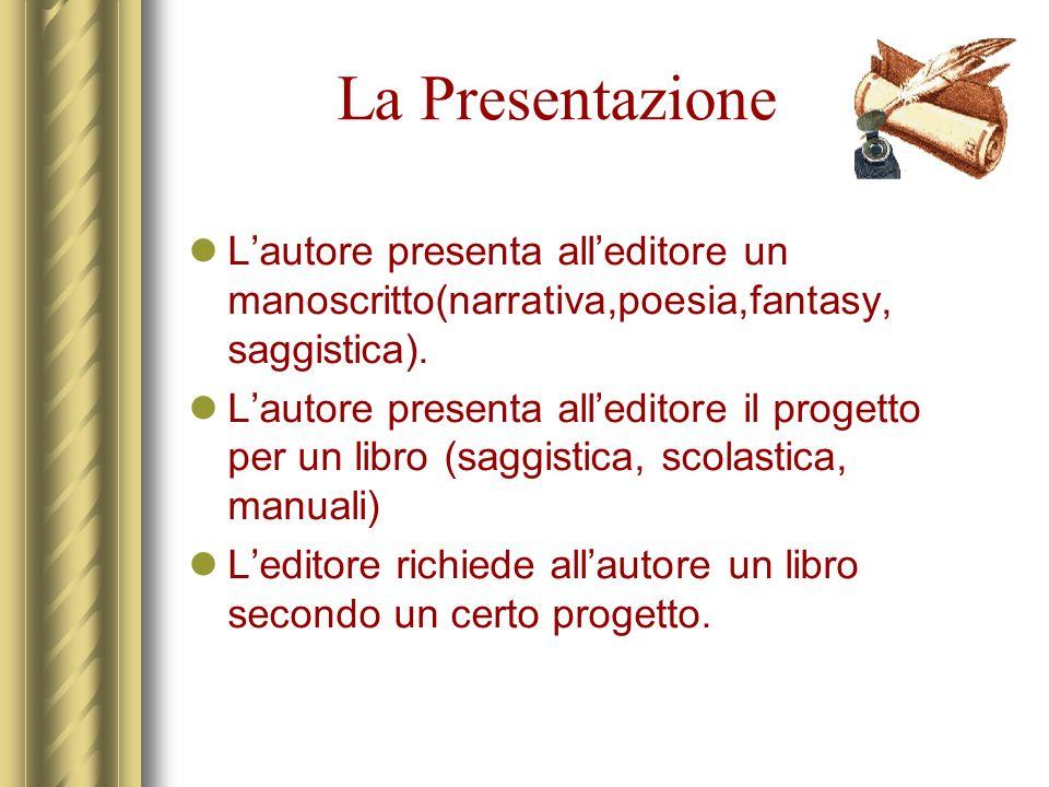 La Presentazione L'autore presenta all'editore un manoscritto(narrativa,poesia,fantasy, saggistica).