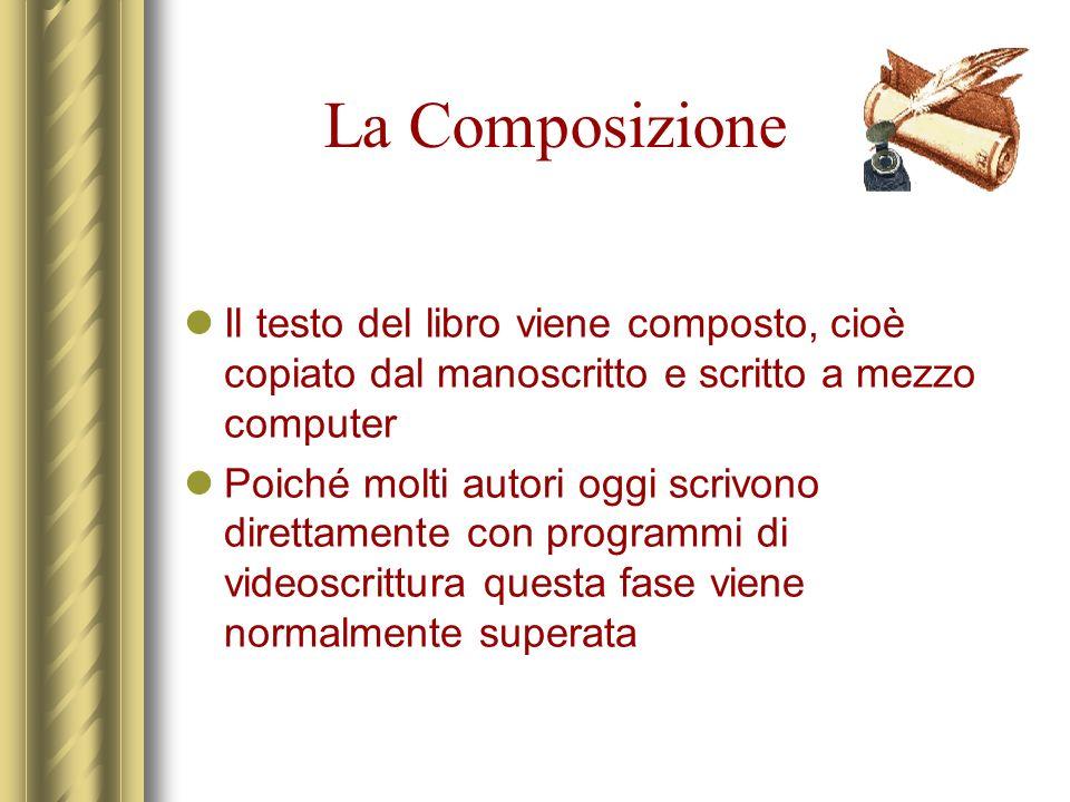 La Composizione Il testo del libro viene composto, cioè copiato dal manoscritto e scritto a mezzo computer.