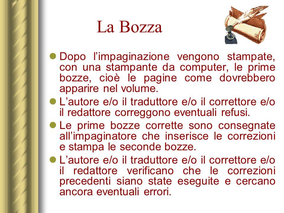 La Bozza Dopo l'impaginazione vengono stampate, con una stampante da computer, le prime bozze, cioè le pagine come dovrebbero apparire nel volume.