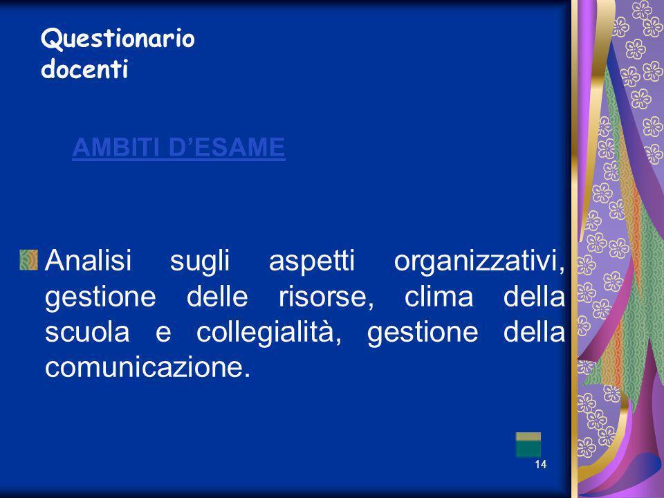 Questionario docenti AMBITI D'ESAME.