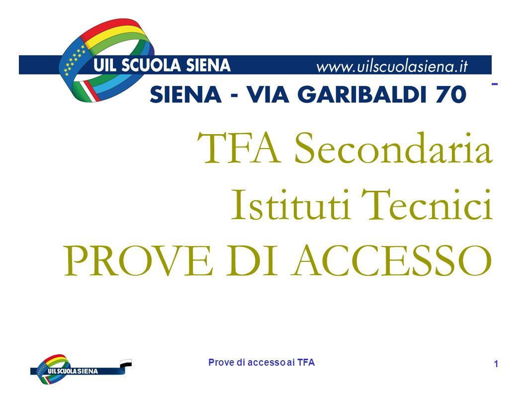 TFA Secondaria Istituti Tecnici PROVE DI ACCESSO