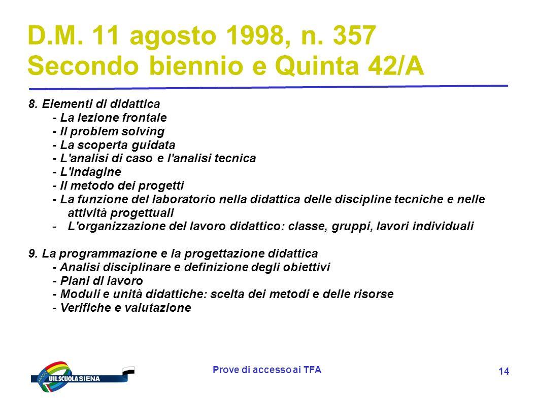 D.M. 11 agosto 1998, n. 357 Secondo biennio e Quinta 42/A