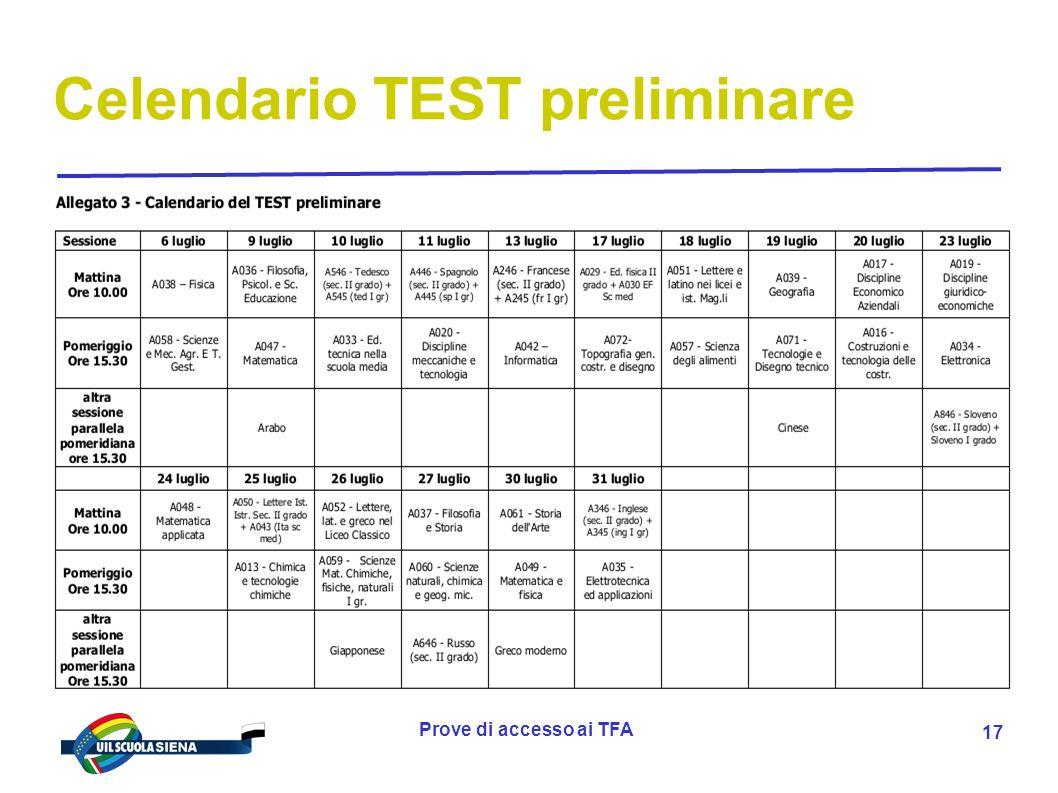 Celendario TEST preliminare