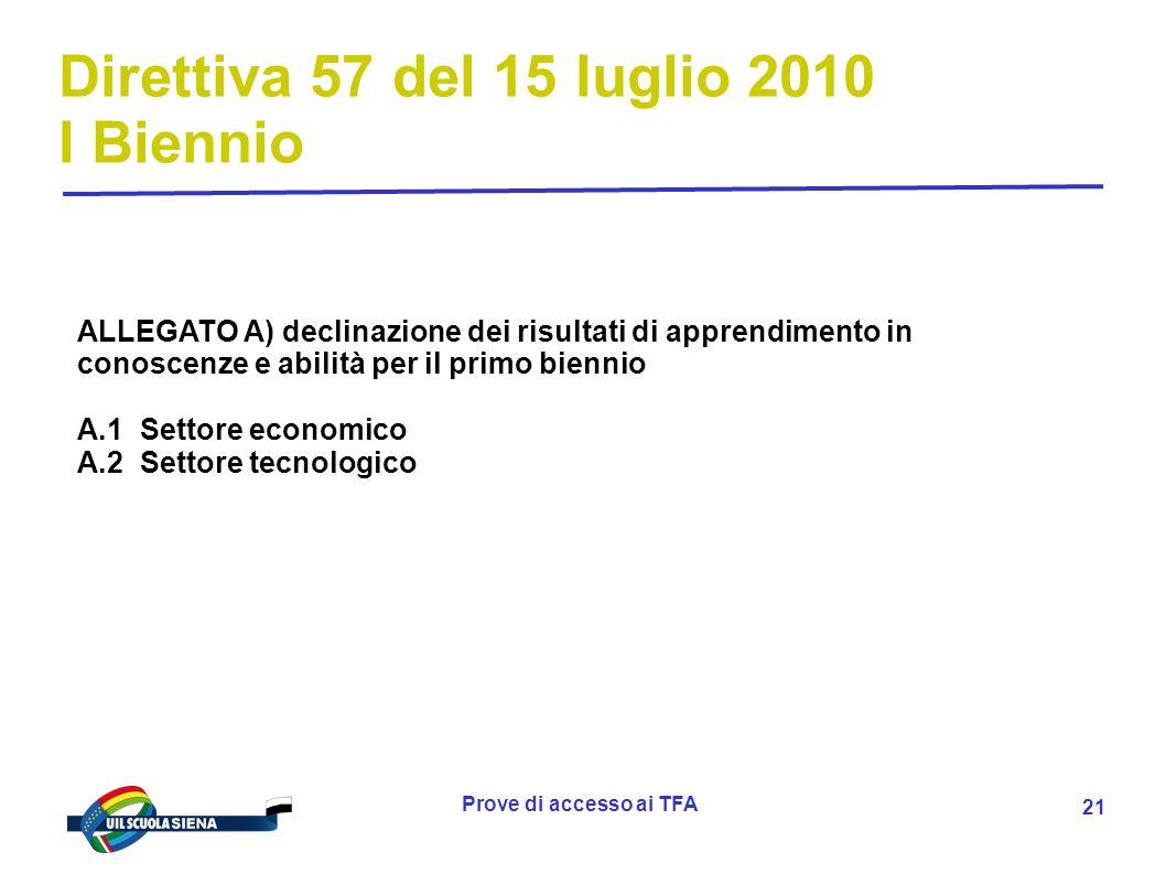 Direttiva 57 del 15 luglio 2010 I Biennio