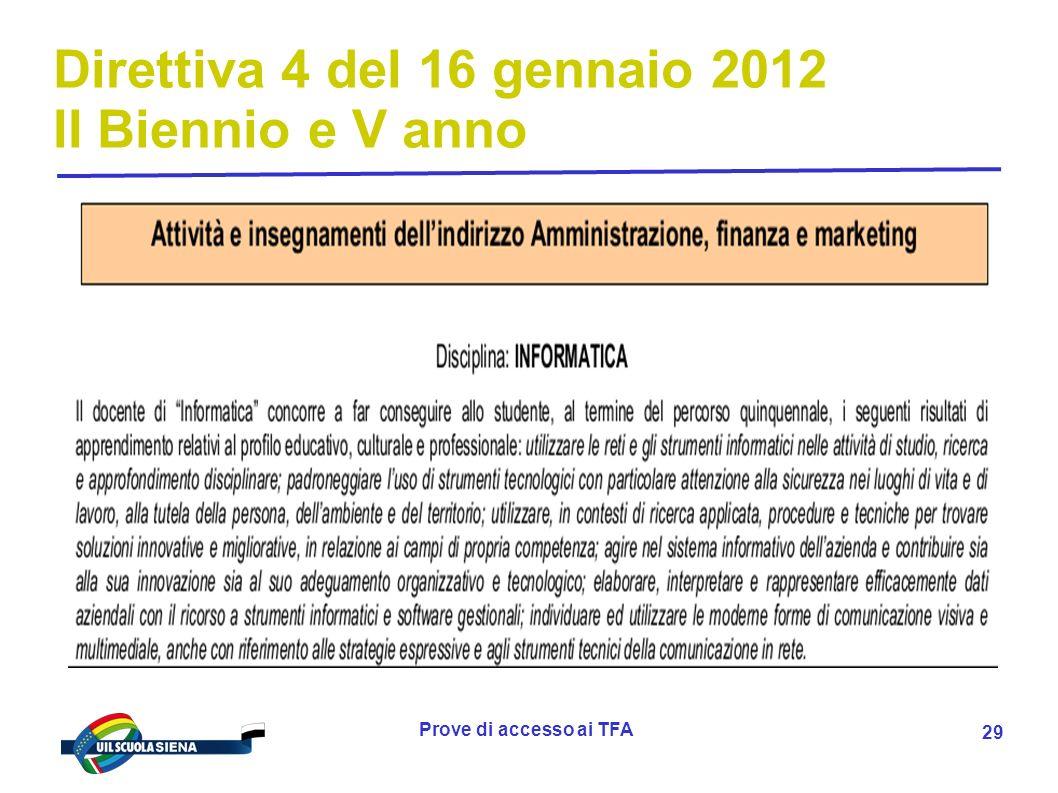 Direttiva 4 del 16 gennaio 2012 II Biennio e V anno