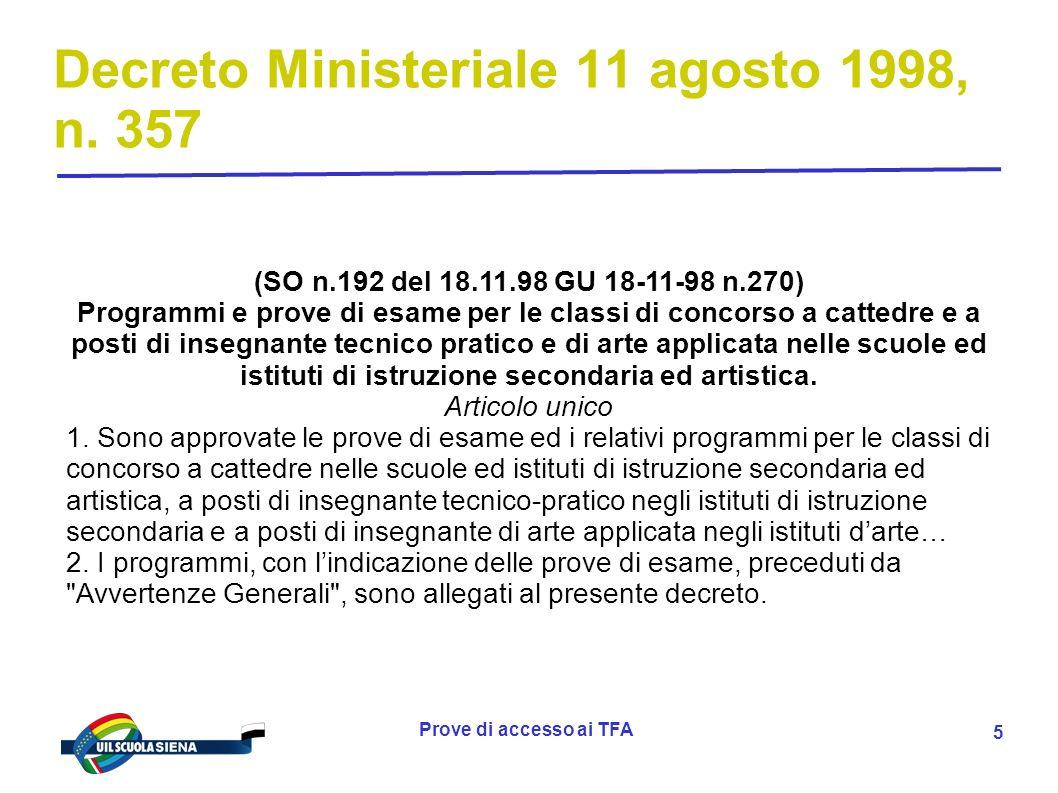 Decreto Ministeriale 11 agosto 1998, n. 357