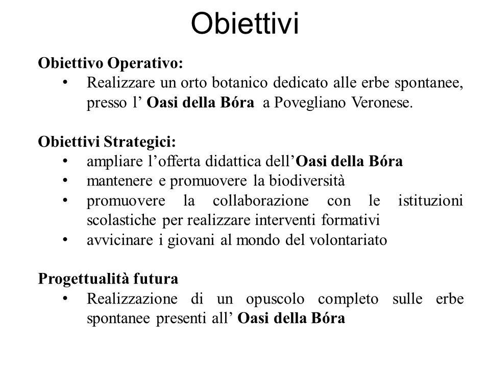 Obiettivi Obiettivo Operativo: