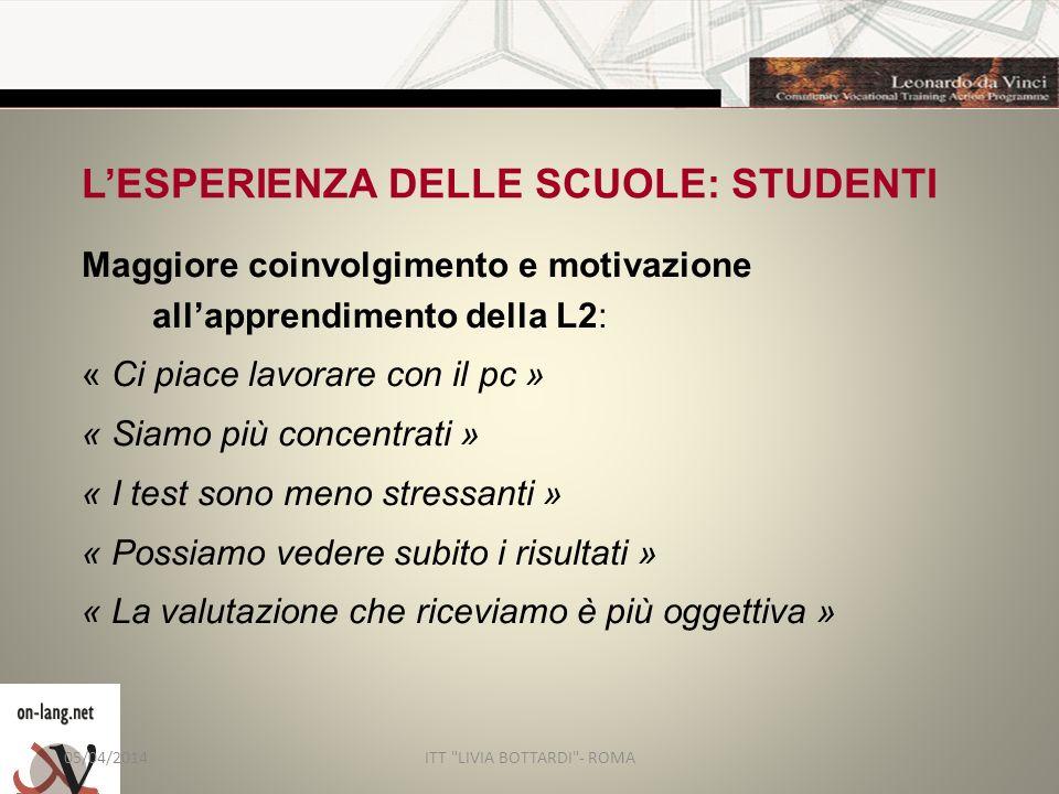 L'ESPERIENZA DELLE SCUOLE: STUDENTI