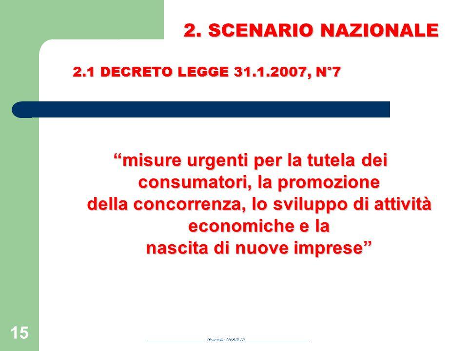 2. SCENARIO NAZIONALE 2.1 DECRETO LEGGE 31.1.2007, N°7.