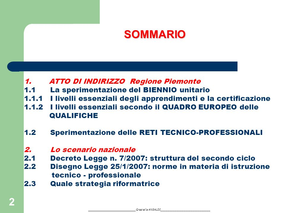 SOMMARIO ATTO DI INDIRIZZO Regione Piemonte