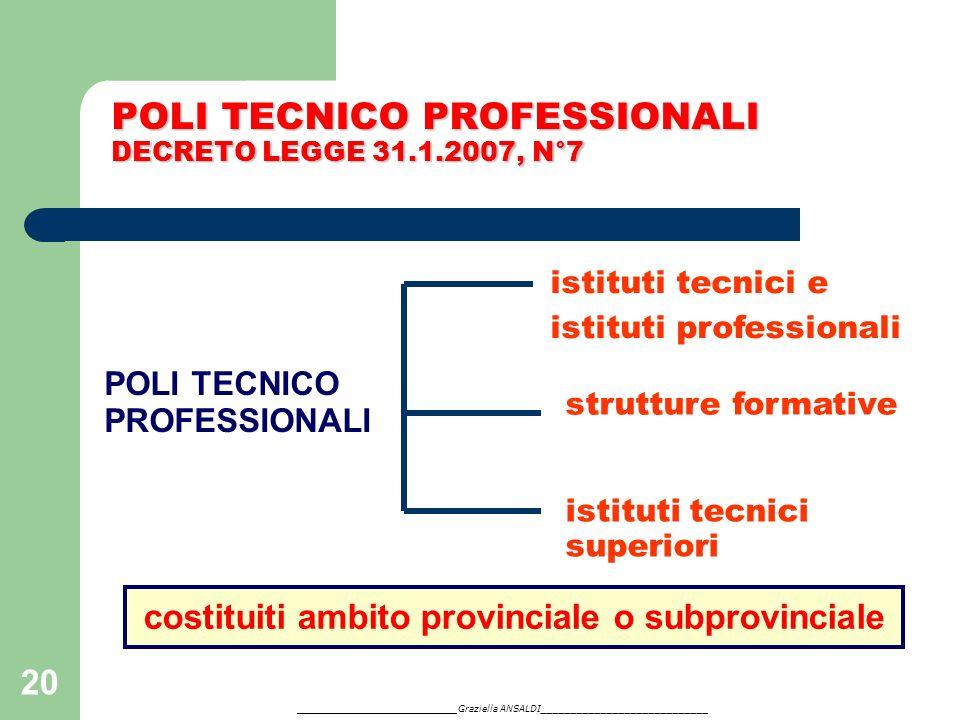 POLI TECNICO PROFESSIONALI DECRETO LEGGE 31.1.2007, N°7