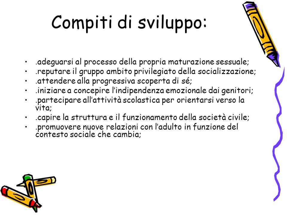 Compiti di sviluppo: .adeguarsi al processo della propria maturazione sessuale; .reputare il gruppo ambito privilegiato della socializzazione;