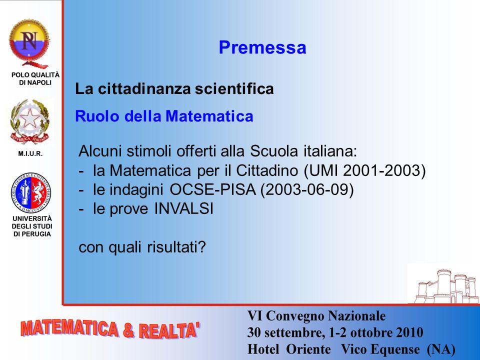 Premessa La cittadinanza scientifica Ruolo della Matematica
