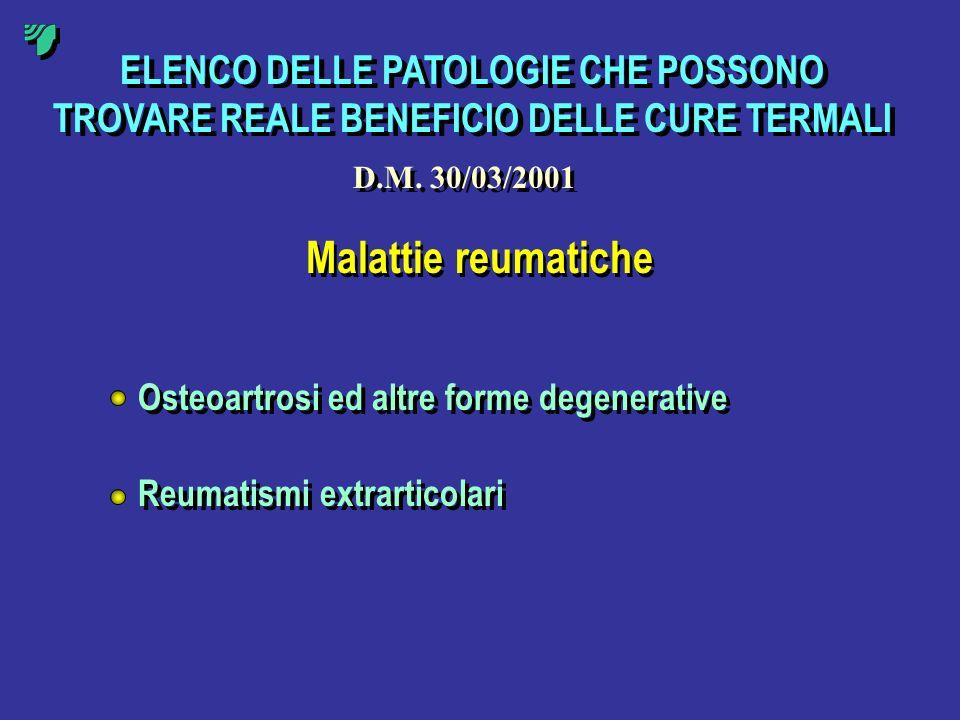 ELENCO DELLE PATOLOGIE CHE POSSONO TROVARE REALE BENEFICIO DELLE CURE TERMALI