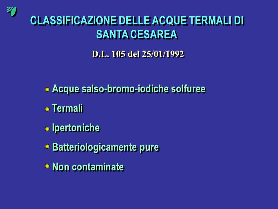 CLASSIFICAZIONE DELLE ACQUE TERMALI DI SANTA CESAREA