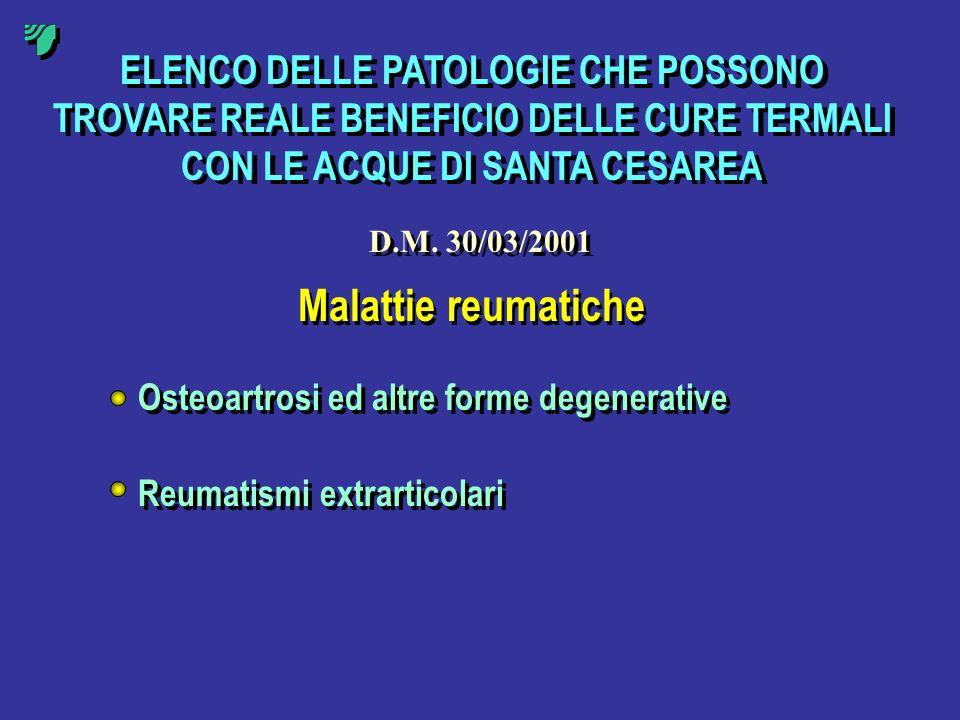 ELENCO DELLE PATOLOGIE CHE POSSONO TROVARE REALE BENEFICIO DELLE CURE TERMALI CON LE ACQUE DI SANTA CESAREA